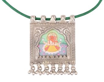 Sterling Silver Tribal Bohemian Antique Indian Handpainted glass pendant necklace for women