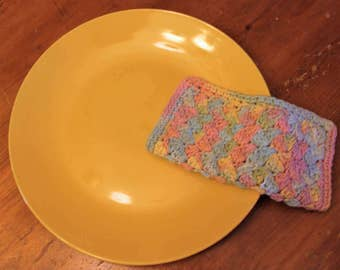 Crocheted Cotton Dishcloths - Multi-colors