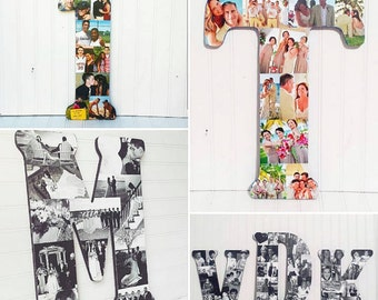 "Custom Photo Collage  Letter or Number - 18"" Tall"