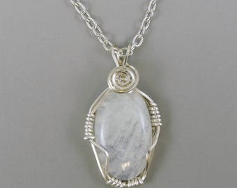 Moonstone Necklace, Gemstone Necklace, Moonstone Jewelry, Wire Wrapped Gemstone Necklace