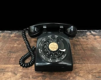 Black Rotary Phone, Western Electric 500, Bell System, Mid Century Decor, Mad Men Era, Retro Desk Phone
