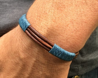 Men's Bracelet, Men's Cuff, Men's Jewelry, Leather Bracelet, Men's Blue Bracelet, Anniversary Gifts for Him, Groomsmen Gifts, Gifts for Dad