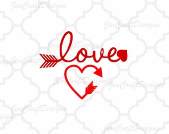 Love Arrow svg dxf eps png files, Valentine svg,svg files for cricut, heart files for silhouette, Love with arrow svg cutting files,wedding