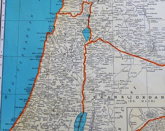 Colliers world atlas etsy 1941 palestine map original colliers world atlas paper map 14 x 11 rand mcnally gumiabroncs Choice Image