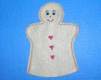 Gingerbread Man Puppet / Gingerbread Boy Felt Hand Puppet / Party Favor