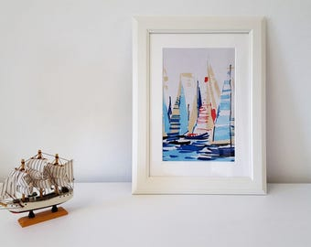 Textile Art Handmade Decorative Regatta Fabric Picture White Frame.