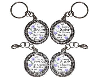 In Gods Arms, Brother, Sister, Key Ring, Key Chain, Purse Charm, Zipper Pull, In Memory Of, Memorial, Remembrance, Bereavement, Keepsake
