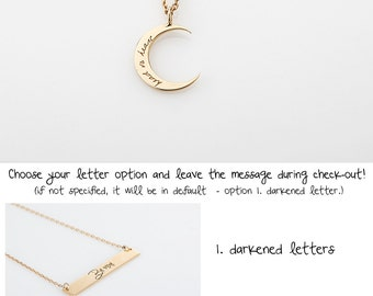 Charm necklace etsy dianty gold cerescent moon necklace silver engraved initial moon charm necklace rose gold name aloadofball Choice Image