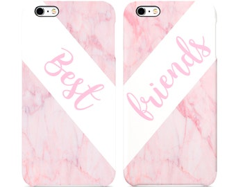 Best Friends Pink Marble Hard Plastic Iphone 6 6s 7 7plus 8 X Case Cover 3D Full-print
