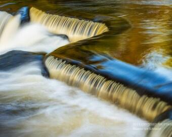 Waterfall Photography, Bond Falls, Orange Blue, Cascades, Michigan, Fine Art Print, Silky Water, Abstract Water Photo, Magical, Home Decor