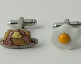 Breakfast Pancakes and Fried Egg Cufflinks