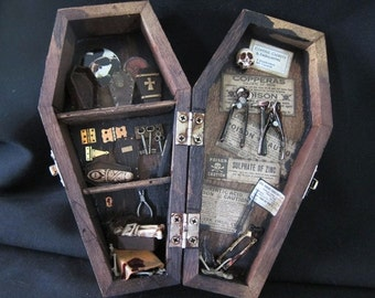 Dr. Dearbourne's Coffins, Caskets and Embalming miniature mixed media shadow box