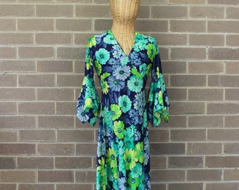 Vintage Blue and Green Floral Maxi Dress