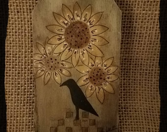 Sunflower and Crow Wood Hang Tag