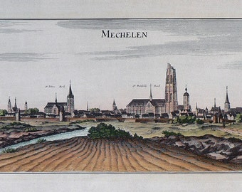 City - Mechelen / Belgium - Cm. 88 x 37 Inches 34.6  x 14.6 - Printed on high quality paper and water-coloured by hand. Since 1940s