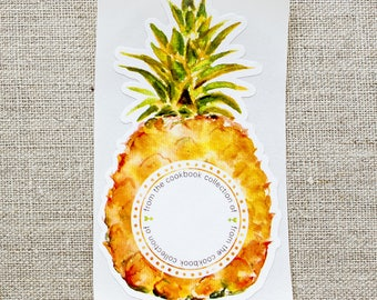 pineapple bookplates - cookbook book plates - cooking labels - gifts for cooks - bookplate stickers - personalized gift - custom bookplates