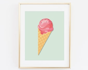 Ice Corn, Summer Print, Ice cream Print, Printable Wall art, Summer Nursery Art print, Mint Wall art, Fruit Art Print, Summer vibe Poster