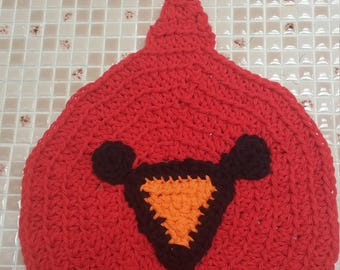 Cardinal Washcloth, Dishcloth, Bird, Cleaning, Crochet, Made to Order
