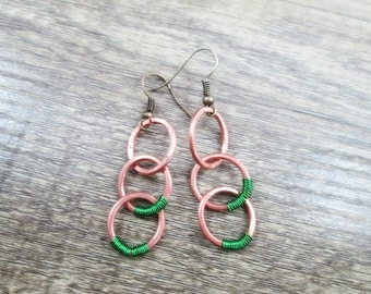 Upcycled Copper Wire Earrings