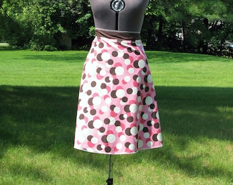 Wrap Skirt Reversible Brown and Pink Poka Dots with Brown