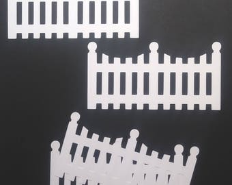 4 Scalloped Fence Diecuts/Embellishments/Card Making/Scrapbooking/Chipboard/Scalloped/FenceScalloped Fence/Die Cuts