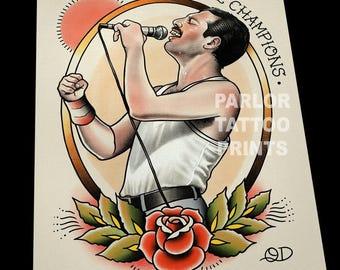 Freddie Mercury Queen Tattoo Flash Art Print