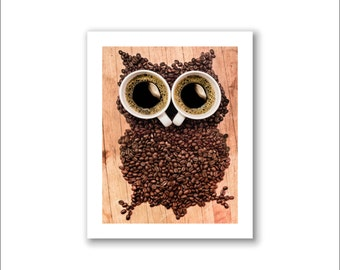 "Coffee Photography, Coffee Art, Cafe Decor -- ""Hoo"""