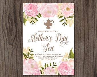 Mother's Day Tea Invitation, Mother's Day Brunch Invitation, Mothers Day Invitation, 5x7'' Printable Invitation