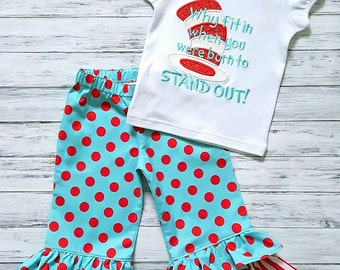 Girls Cat In The Hat Dr. Seuss Dr. Suess Thing outfit Ruffled Pants Set
