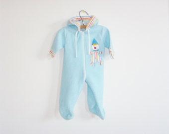 Vintage Blue Fleece Baby Sleeper