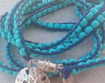 Boho Brat Aqua and Blue By the Sea 5X Bohemian Wrap Bracelet