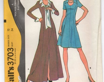"""1970's McCall's Maxi and Short Dress - Bust 34"""" - No. 3703"""