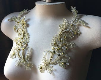 BRIGHT Gold Appliques Beaded Lace Pair Champagne for Lyrical Dance, Ballroom Dance, Costumes, Bridal, Bridesmaids Sashes PR 114BG