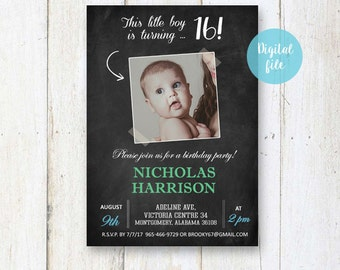 Sweet 16th Birthday Invitation for boys | Personalized Chalkboard collage photo invite for him best brother son in law |  DIGITAL file!