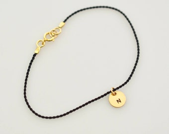 14K Gold Fill and Nylon Cord Bracelet, Sterling Silver and Nylon Cord Bracelet, Black Thin Nylon Cord Bracelet, Thin Layering Bracelet