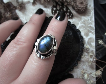Labradorite Ring Little Rings Blue Labradorite Celestial Ring Galaxy Ring Protection Ring Witch Ring