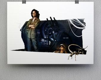 Aliens art print, A4 (210 x 297 mm)