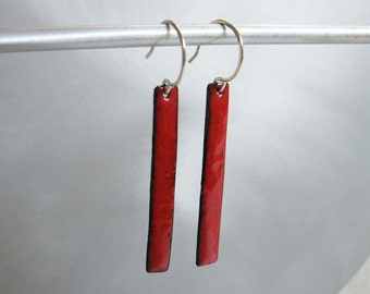 Long Skinny Cherry Red Enamel Rectangle Earrings, Kiln-Fired Glass Enamel, Geometric Long Dangle Earrings, Custom Colors Available