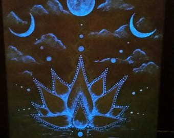 Glow in the Dark 'Lotus Moons' Acrylic Painting on Canvas