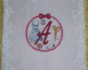 Monogram Embroidered handmade cross-stitch - Vintage sewing theme