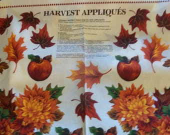 Fall Harvest Appliques Fabric Panel - 1/2 yard