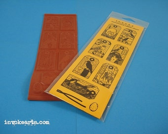 Bird Tags / Invoke Arts Collage Rubber Stamps / Unmounted Stamp Set