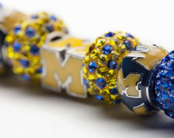 Michigan Wolverines Blue and Maize Bead Charm Bracelet Jewelry