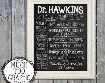 Teacher Principal Retirement Chalkboard Sign CUSTOM Personalized Design End of the year Gift Party Printables