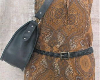 Handmade black leather braided belt for woman