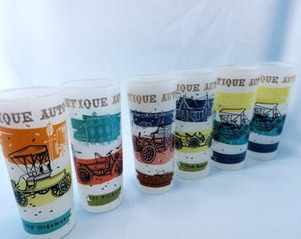 Tumblers, Set of 6, Antique Cars Frosted glasses, Tom Collins, bar ware, man cave, madmen, mid century, automobile glasses, barware