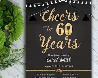 Cheers Birthday Invitation, Classy Birthday Invitation, 40th Birthday, 50th Birthday, 60th Birthday, Black and Gold Birthday Invitation