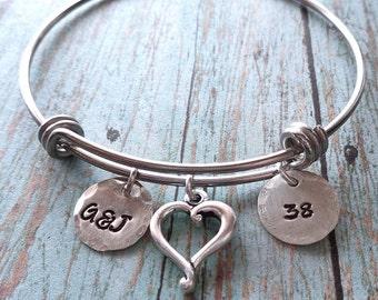 Anniversary Bangle Bracelet - Personalized Initials Date - Anniversary Wedding Gift - Adjustable Bangle Bracelet Silver Anniversary -B64