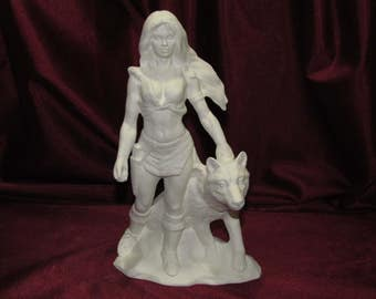 Ceramic Bisque Native American Woman with a Wolf Ready to Paint U-Paint Unpainted DIY