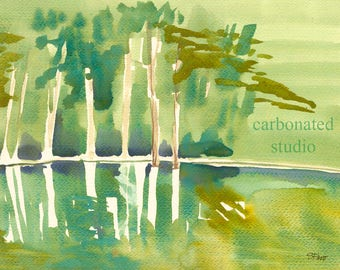 """Reprinted watercolor painting: """"Dale Hollow Lake"""", 4"""" X 6 1/4"""" blank folded card"""